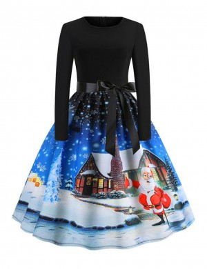 Inviting Sky Blue Santa Claus Print Skater Dress Long Sleeve Glamor