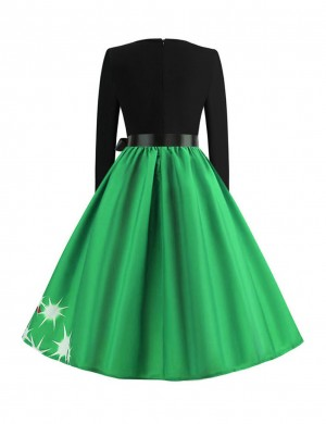 Smooth Green Zipper Closure Skater Dress Full-Sleeved Women Essentials