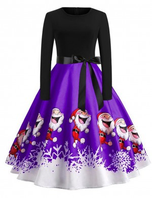 Simplicity Butterfly Knot Skater Dresses Christmas Print Outfit