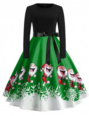 Ultra Fresh Crew Neck Skater Dress Santa Clause Pattern For Work