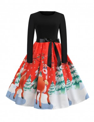 Orange Reindeer Trees Pattern Skater Dress Bowknot Quality Assured
