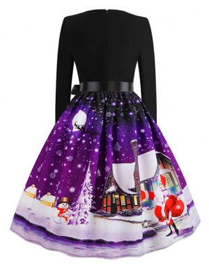 Fascinating Dark Purple Snowflake Skater Dresses Zipper Closure Upscale