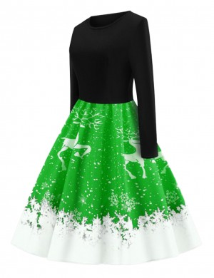 Versatile Light Green Round Collar Skater Dress Full Sleeves Women Fashion