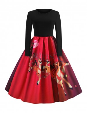 Formal Red Long Sleeves Skater Dress Moon Reindeer Print Soft