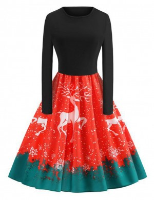 Watermelon Red Snowflake Skater Dresses Reindeer Print Tailored Quality