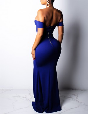 Causal Navy Blue Slim Waist Maxi Party Dresses Bare Shoulders Visual Effect