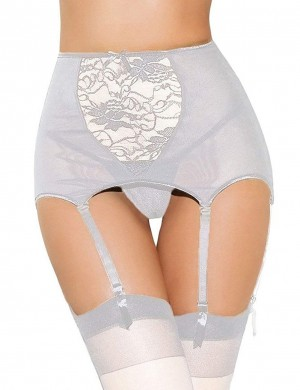 White Big Size Six Garter Belts With Bowknot Little Thrills