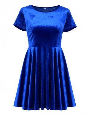 Glittering Dark Short Sleeved Blue Mini Dress Big Skirt Plain For Streetshots
