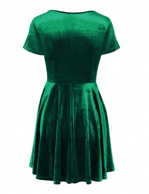 Premium Blackish Solid Color Green A-Line Skater Dress Crew Neck Fashion Trend