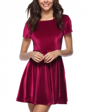 Flattering Wine Red Skater Dress Round Neck Short Sleeves Fashion Online