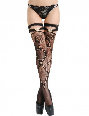Lace Black Stockings Sheer Fishnet Ruffle Band Dissolute Night