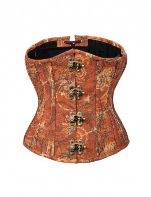 Brass Clasp Underbust 12 Fish Bone Brown Corset Crossover Back