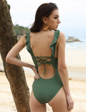 Distinctive Dark Green Backless One Piece Beachwear High Cut For Girl