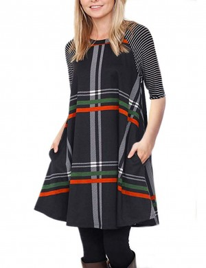 Supper Fashion Black Color Block Plaid Dress Soft Peach Fashion Shop Online