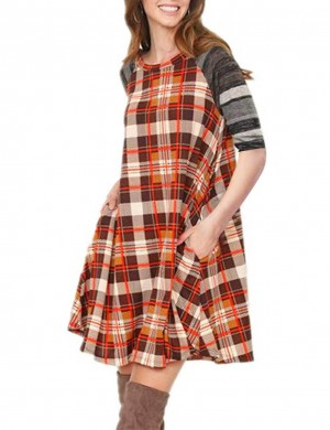 Leisure Brown Ruffle Striped Print Short Brushed Dress Plaid For Woman