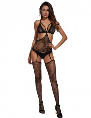 Super Black Strappy Halter Bodystocking Lingerie Hollow Out Sale Online