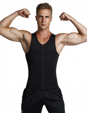 Plus Size Black Mens Body Shaper Vest Abdomen Slim Figure Shaping