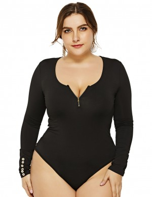 Svelte Style V Collar Black Queen Size Bodysuit Full Sleeves Natural Fit