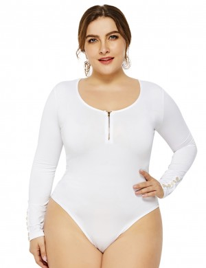 Picturesque White Bodysuit Cuff Button Decor Plus Size Zipper Womens Fashion Online Shopping
