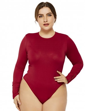 Eye-Catching Wine Red Cuff Large Size Rompers Zipper Long Sleeves Delightful Garment