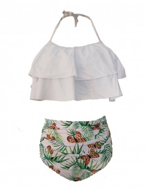 Ivory White Ruffles Halter High Waist Bikinis Butterfly Pattern Women Forward