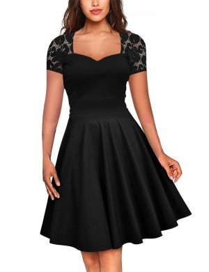 Seductive Black Vintage Dress Short Sleeves About Knee Length Cheap Online