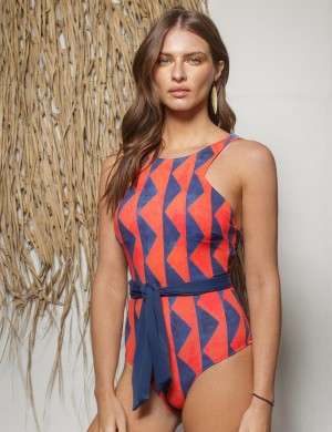 Matching Printed One Piece Swimsuit O-Neckline Wedding Trip