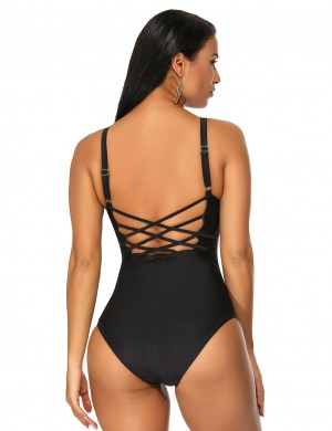 Summer Ladies Black One Piece Swimsuit Adjustable Straps Strappy For Summer