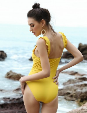 Cozy Yellow Removable Pads One Piece Beachwear Wide Straps Online Wholesale
