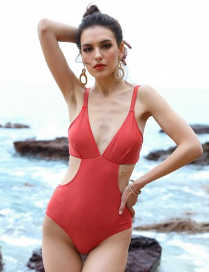 Cheeky Dark Red Thin Adjustable Straps Monokini V Collar Stretch