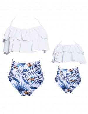 Beach Playing Time Ruffle Printing Halter Neck Family Swimwear Tailored Quality