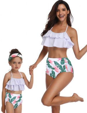 Royal Two Pieces Family Swimsuit Ruffle Leaves Printing Women Forward