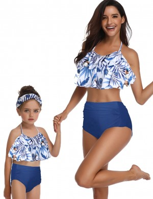 Passionate Mother Daughter 2 Pieces Ruched Swimwear Open Back Beachwear