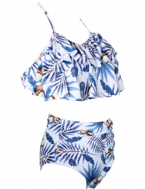 Artisan Ruffle Family Two Pieces Swimsuit High Waist Summer Holiday