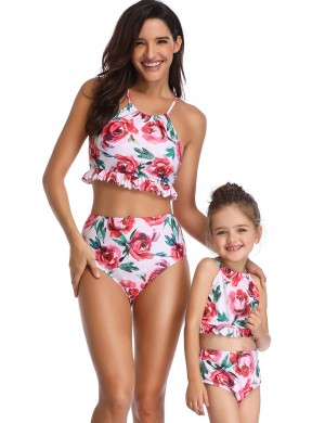 Scintillating Family Lace-Up Bikini Floral Print Frill Ladies Grace