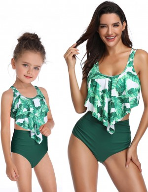 Snazzy Green Mother Daughter Bowknot Bikini Leaves Pattern For Ladies