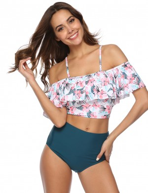 Summer High Waisted 2 Pieces Bathing Suit Ruffle Sale Online