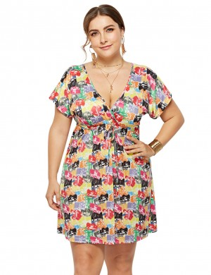 Colorful V-Neckline Mini Printed Dress Queen Size For Stunner