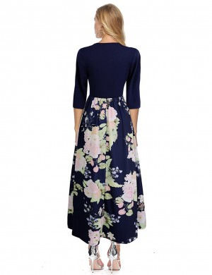 Loose Fit Navy Blue Elastic Waist Pleated Maxi Dresses Floral Pattern Exotic Girls