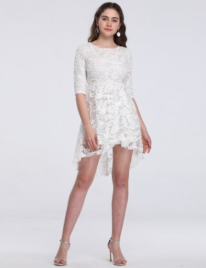 Catching White Lace Hollow High Low Dress Half Sleeves Great Quality