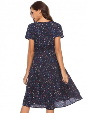 Bewildering Navy Blue V-Neck Floral Midi Dress Short Sleeves