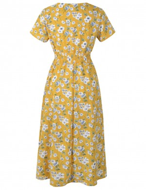 Kinetic Yellow Deep V-Neck Midi Dress Flower Pattern Hot Sale