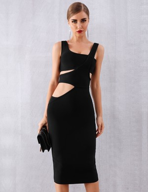 Stretchable Black Hollow Out Sleeveless Tight Dress Plain Cheap Online