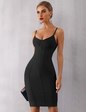 Body Hugging Black Sling Bodycon Dress Square Back Neck For Lover