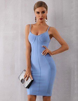 Slimming Blue Thin Straps Bandage Dress Zipper Closure For Beauty