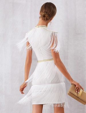 White Back Zipper Bandage Dress Round Collar Modern Fashion
