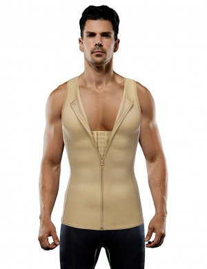 Streamline Nude 2 Steel Large Size Boned Hooks Zip Men Vest Shaper High Power
