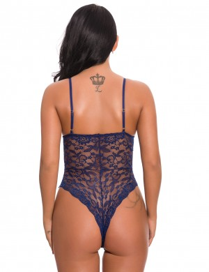 Sumptuous Blue Criss Cross Teddy High Rise Plunge Neck Slinky Figure