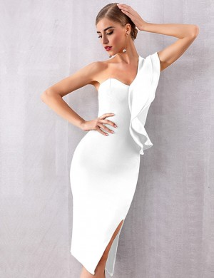 Curve Smoothing White Pure Color Bandage Dress Side Slit Zipper
