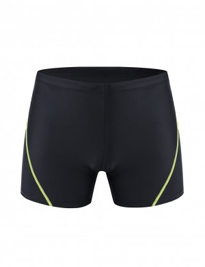 Tailored Black Mens Boxer Brief Swimwear With Drawstring